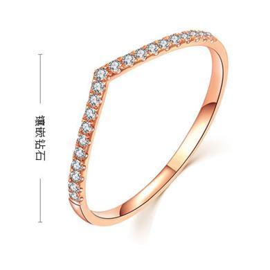 百搭经典款 18K玫瑰金钻石戒指排钻戒指彩金钻戒女V戒护戒尾戒碎钻戒 配证书