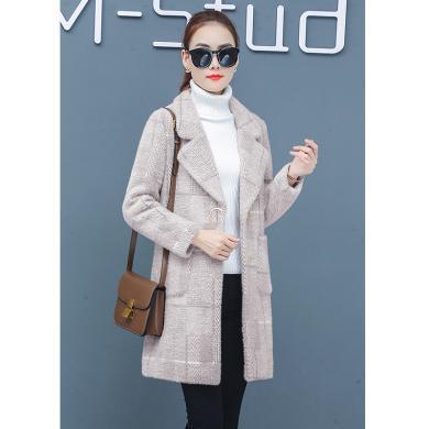 綺娑 中長款格子外套女冬季新款韓版加絨加厚毛呢大衣水貂絨風衣時尚穿搭外套