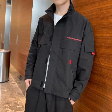 夹克男士秋冬风衣外套夹克男士外套秋季新款韩版潮流棒球上衣服学生春秋款工装秋装夹克MD-9001