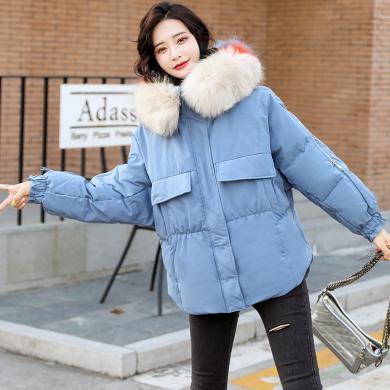 熤笙靘 女式棉衣2019冬季新款大毛领棉衣女短款宽松小个子保暖棉袄     J9A56
