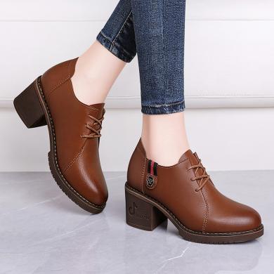 古奇天倫短靴女新款秋冬鞋百搭粗跟加絨中跟黑色磨砂高跟鞋冬款馬丁靴9278