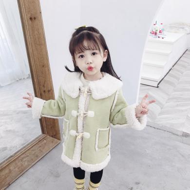美純衣天使新款洋氣童外套女童冬裝中小童兒童翻領麂皮絨大衣潮PWY-LX麂皮絨外套