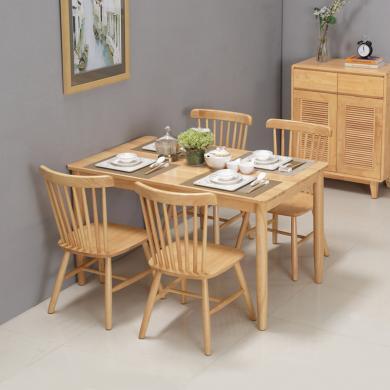 北歐純實木餐桌椅組合橡膠木簡單飯桌餐臺小戶型客廳家具實木餐桌