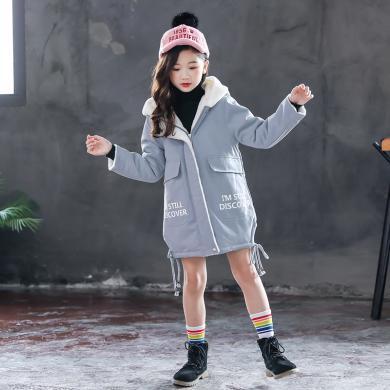 MJTH女童冬装加绒外套韩版童装2019新款中大童洋气儿童连帽保暖风衣MN19100802