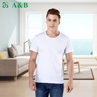 A&Bab內衣男士T恤薄款精梳純棉汗布內衣全棉中老年打底短袖衫(L605)