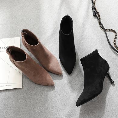 搭歌絨面冬季加絨新款女靴細跟高跟靴冬季女鞋靴子女式FH2019-3