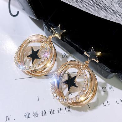 盈滿堂 S925銀針星星耳環多層閃亮金屬圓圈耳墜時尚耳釘女