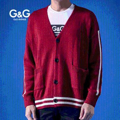 G&G 男士秋季開衫毛衣男外套寬松潮流韓版條紋慵懶風外穿針織衫