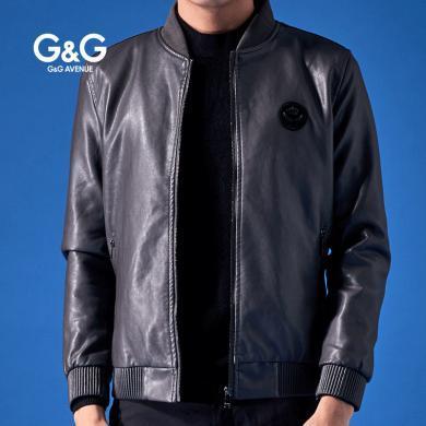 G&G 男士短款pu皮衣修身2019新款加絨皮夾克男帥氣潮流秋冬外套