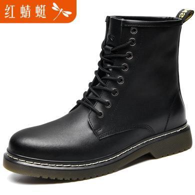 红蜻蜓?#34892;?#30495;皮马丁靴高帮鞋靴子男C0191198