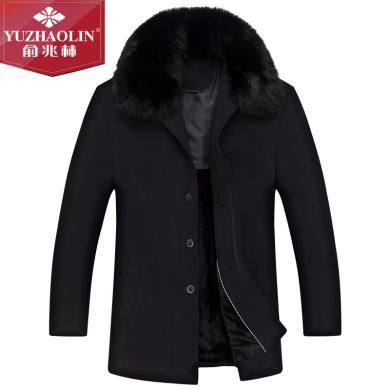 俞兆林秋季男士立领呢子外套夹克衫中老年人男士爸爸冬装上衣棉服大衣呢子大衣外套夹克老年装中老外套呢子大衣外套  YZL8602
