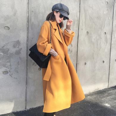 meyou 赫本風毛呢外套女冬季新款時尚寬松開叉呢子大衣