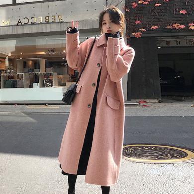 meyou 赫本风毛呢大衣女冬季新款时尚单排扣长款呢子外套