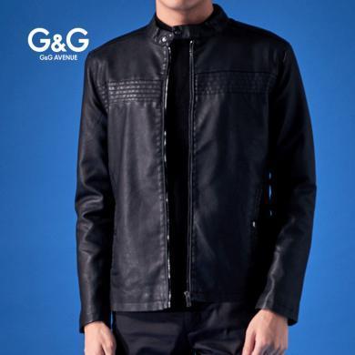G&G 黑色皮衣棒球服男修身皮夹克秋冬季加绒潮流帅气机车服外套