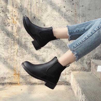 短靴女時尚新款單靴秋冬季女鞋馬丁靴切爾西靴平底女靴子I8-13347