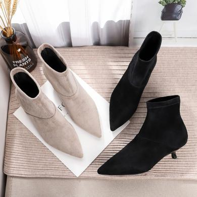 搭歌瘦瘦小跟短靴女细跟马丁靴女英伦风2019新款女鞋秋冬靴子FH1592-6