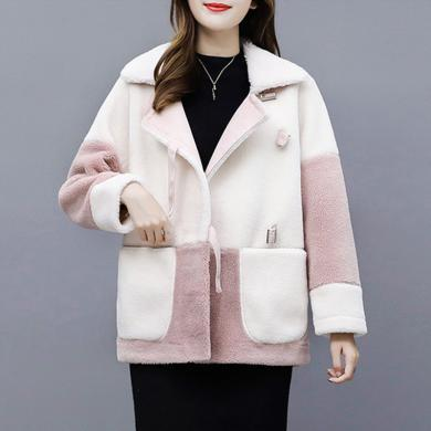 meyou 秋冬新款韓版皮毛一體外套女裝羊羔毛外套短款