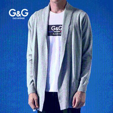 G&G 男士2019秋季新款開衫毛衣男外套中長款慵懶秋冬外穿針織衫
