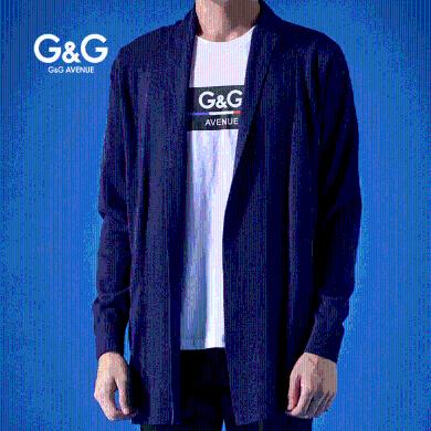 G&G男士秋季開衫毛衣男外套中長款韓版個性慵懶風秋冬外穿針織衫