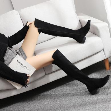 搭歌靴子女新款不過膝靴低跟圓頭側拉鏈長筒靴女過膝長靴BY718-5