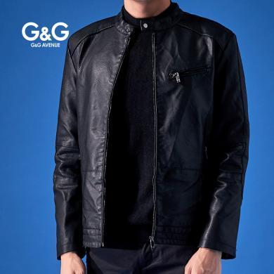 G&G pu皮衣男潮流韩版帅气男士秋冬外套修身短款黑色机车皮夹克