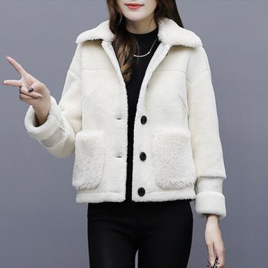 meyou 羊羔毛外套女冬季新款小个子加厚毛绒外套短款