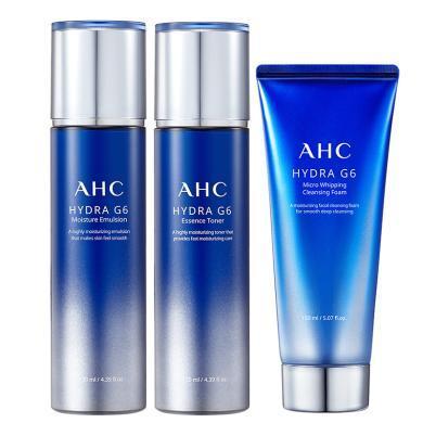 韓國AHC 新款G6水乳洗面奶組合3件套裝(水130ml+乳130ml+洗面奶150ml) 集中補水,密集呵護干燥煩惱