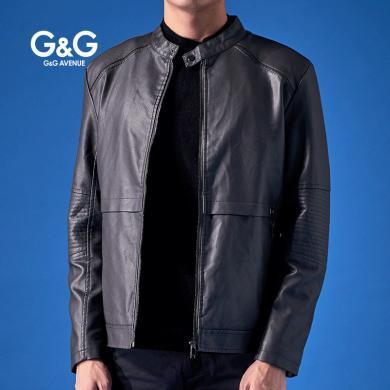 G&G 黑色皮衣男修身帅气短款男士PU皮夹克2019新款春秋夹克外套