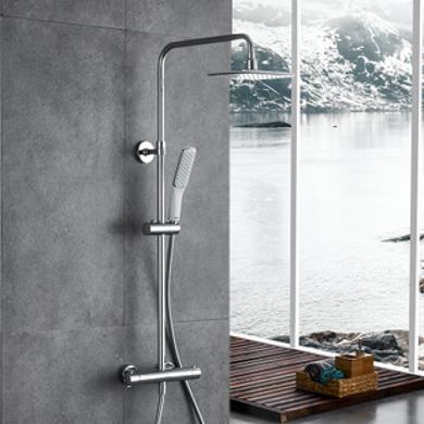 JOMOO九牧方形恒溫花灑硬管淋浴器套裝不帶下水出水口(包安裝)