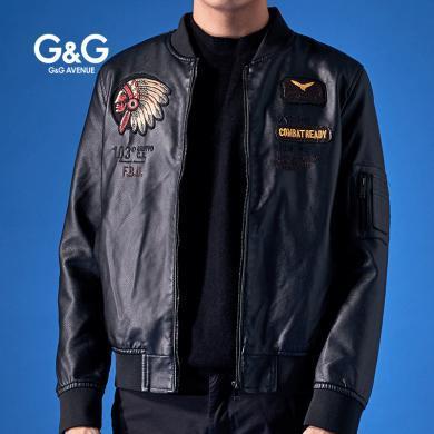 G&G 2019新款皮夾克男潮流韓版春秋青年男士pu機車加絨皮衣外套