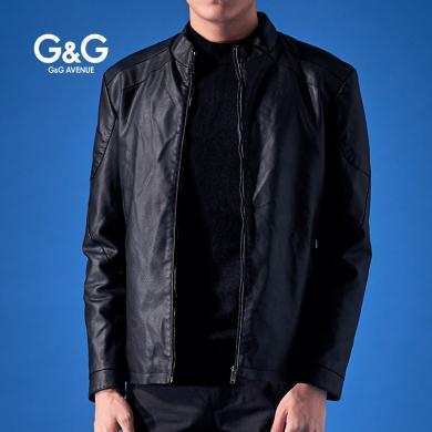 G&G男士皮衣外套黑色加絨皮夾克男修身帥氣棒球服冬季機車pu外套