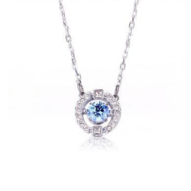 【支持購物卡】SWAROVSKI 施華洛世奇跳動的心項鏈女送女友禮物 藍色 5279425