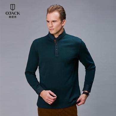 O'JACK/欧尼杰中年男T恤秋季上新含羊毛修身商务休闲长袖立领T恤