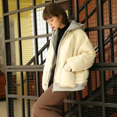 BANANA BABY2019冬款韓版假兩件連帽衛衣拼接羽絨服女加厚面包服D294YR926