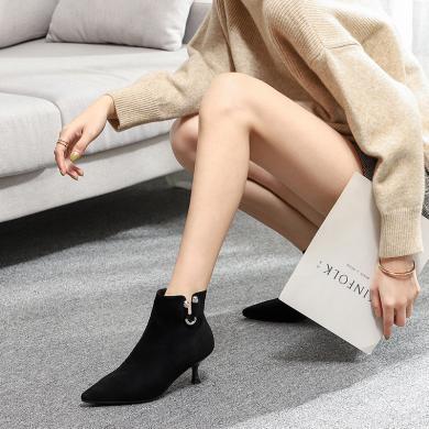 搭歌加绒短靴女细跟尖头秋冬新款女鞋女士短靴女靴BY1902-6