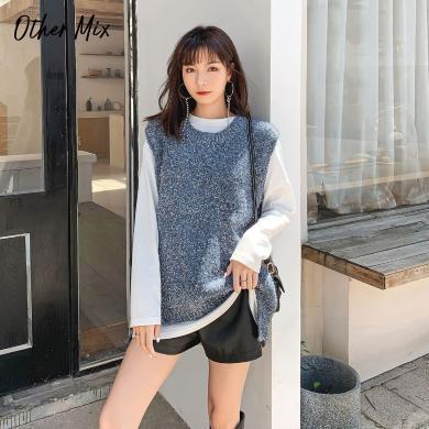 七格格馬甲女2019新款冬季外穿背心針織衫時尚韓版寬松中長款馬夾