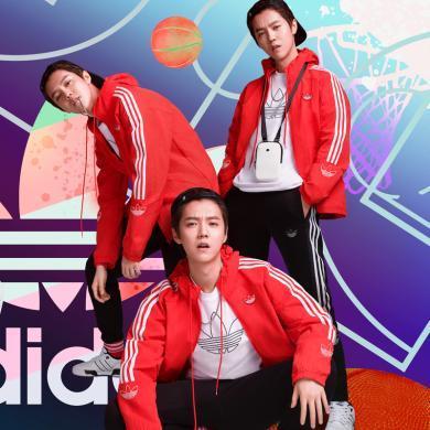 adidas Originals阿迪三葉草2019男子鹿晗同款運動服連帽百搭梭織風衣外套FL1773