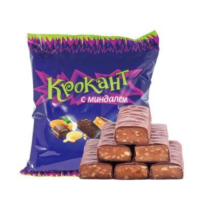 俄羅斯進口KDV紫皮糖正品500g包扁桃仁夾心巧克力糖果喜糖零食