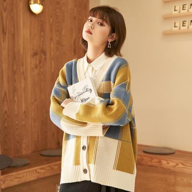 BANANA BABY2019秋冬新款韓版學院風格子拼色針織開衫女毛衣外套D294MY946