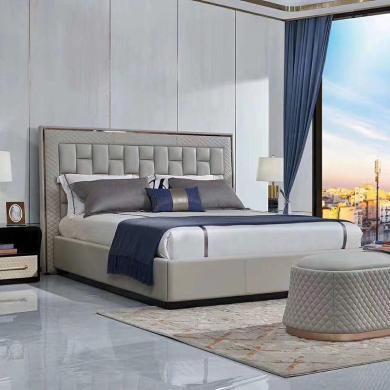 HJMM后现代轻奢皮床真皮床实木双人床1.8米现代简约婚床主卧床