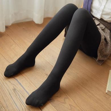 庫依娜秋冬棉豎條紋連褲襪嬰兒絨打底褲加絨高腰收腹保暖一體褲B419