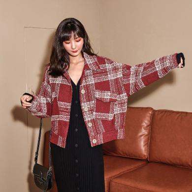 七格格毛呢外套女2019新款秋冬季格子西裝寬松韓版學生短款呢大衣