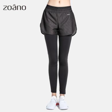 zoano佐納 秋裝健身褲女假兩件彈力瑜伽褲女緊身跑步速干顯瘦運動長褲
