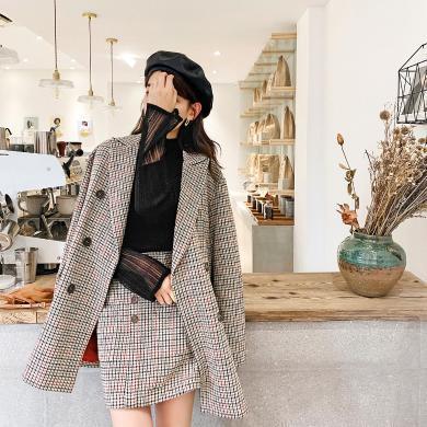 七格格毛呢外套女中长款2019新款冬季韩版宽松小个子千鸟格呢大衣