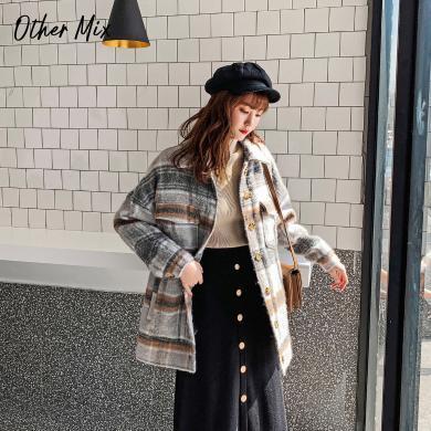 七格格毛呢大衣女中長款2019新款冬季長袖加厚韓版寬松格子外套潮