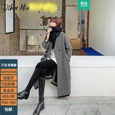 七格格毛呢大衣女中長款上衣2019新款冬季韓版寬松長袖呢子外套潮