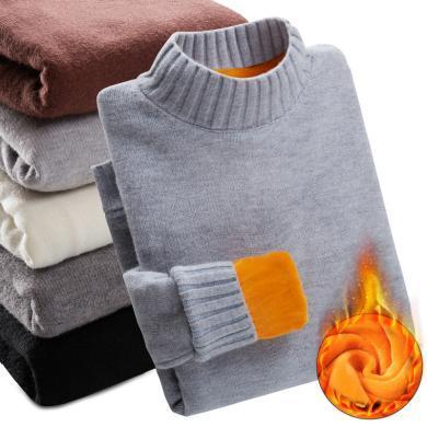 搭歌2019冬季新款男士休闲保暖加绒加厚大码潮流青少年棉质针织衫LQ中领毛衣