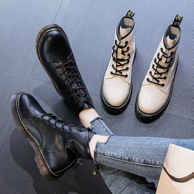 新款牛皮英伦风休闲短靴系带潮流百搭马丁靴学院风女靴MN-A9551