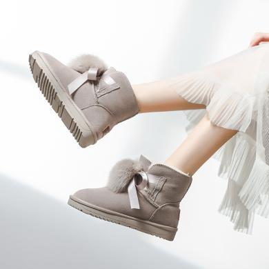奧古獅登雪地靴女新款冬季時尚皮毛一體短筒厚底短靴學生真皮百搭棉鞋9427