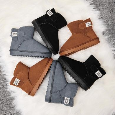 兒童雪地靴男童女童鞋冬季2019新款真皮短靴子中大童加絨加厚棉鞋 5803